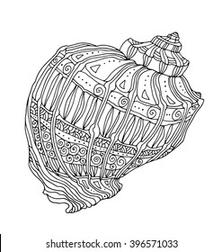 Seashell isolated on white. Vector illustration. Zentangle artwork. Coloring book page for adult. Hand drawn artwork. Beach concept for restaurant menu card, ticket, branding, logo label. Black, white