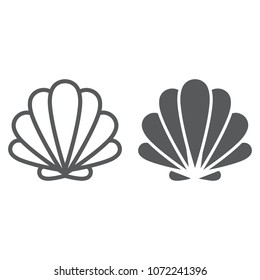 Seashell line and glyph icon, animal and underwater, shell sign vector graphics, a linear pattern on a white background, eps 10.