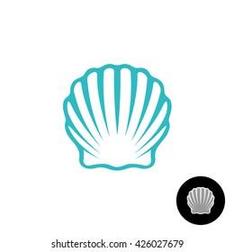 Seashell logo. Scallop seashell elegant symbol. Sea shell isolated silhouette.