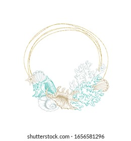 Seashell and marine algae package label, vector modern premium golden frame design. Ocean seashell and sea minerals product, corals and starfish in gold foil circle wreath
