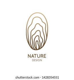 Seashell minimal logo. Oval emblem decorative shell in linear style. Vector abstract badge for design of natural products, flower shop, cosmetics, ecology concepts, health, spa, yoga Center.