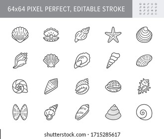 Seashell, oyster, scallop line icons. Vector illustration included icon as nautilus, spiral shell, starfish outline pictogram for beach mollusk infographic. 64x64 Pixel Perfect Editable Stroke