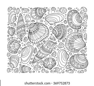 Seashell pattern art background. Vector illustration. Zentangle. Coloring book page for adult. Hand drawn artwork. Beach concept for restaurant menu card, ticket, branding, logo label. Black, white