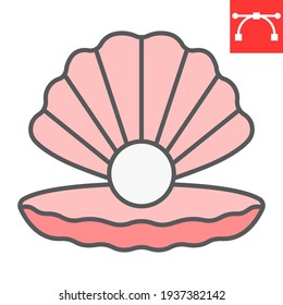 Seashell with pearl color line icon, shell and ocean animals, open seashell vector icon, vector graphics, editable stroke filled outline sign, eps 10