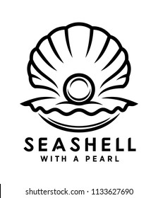 seashell with pearl outline icon