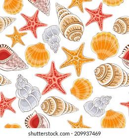 Seashell seamless pattern - illustration