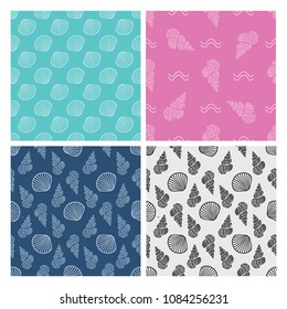 Seashell seamless pattern. For printed t shirt, graphic tee, wallpaper and other design.