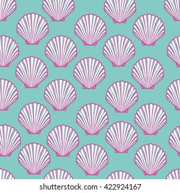 Seashell seamless pattern. Scallop vector background.