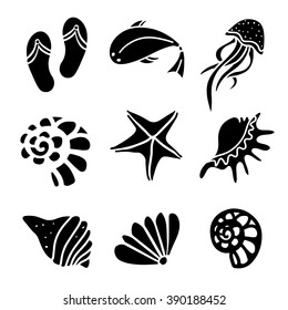 Seashells, flip flop sandals, fish, jellyfish, starfish, icons set, black silhouettes isolated. Design elements, logo
