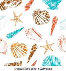 Seashells hand drawn vector colorful etching sketch isolated on white background, seamless pattern, underwater artistic marine blue texture, design for greeting card, decorative textile, water fabric
