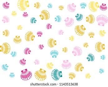 Seashells on white vector, pearl bivalved mollusks illustration. Oceanic scallop, bivalve pearl shell, marine mollusk isolated wild life-nature background. Trendy sea shell pattern.
