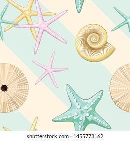 Seashells Retro Pastel Vector Seamless Pattern Textile Design