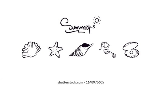 Seashells and sea animals clean black outline illustration. Summer letters text. Seashells simple outline silhouette illustration. Seashell, starfish, seahorse, and shell with a pearl set collection.