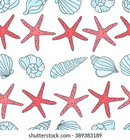 Seashells and sea stars icons seamless pattern vector. Colorful background vector. Marine illustration with starfishes and shells icon collection. Decorative wallpaper, good for printing