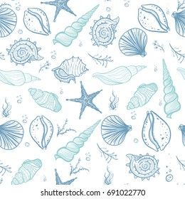 Seashells seamless pattern. Hand drawn doodle seashells, starfish, seaweed and corals. Creative seashells vector background.