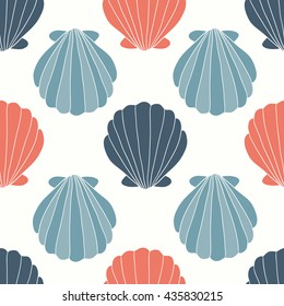 Seashells seamless pattern vector. Doodle colorful background. Sketch objects marine illustration