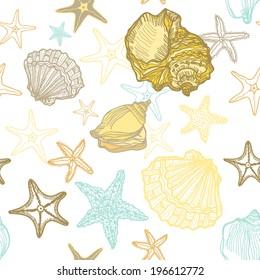 Seashells and starfish, seamless pattern. Vector illustration