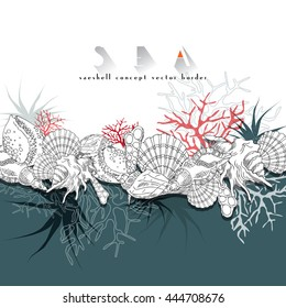 Seashells vector border turquoise concept border. Seashells isolated line art illustration with different corals, algae, sea life and background.