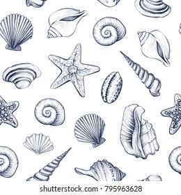 Seashells vector seamless pattern. Hand drawn marine illustrations of engraved line. Monochrome background.