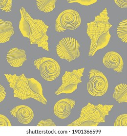Seashells vector seamless pattern. Shells and conch illustration. Trendy color background. Ultimate Gray and Illuminating - colors of the year 2021. Pantone 17-5104 and 13-0647.