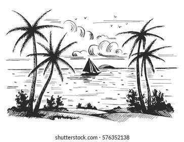 Seashore beach with palm trees, seagulls and sailing boats on the horizon vector sketch. Hand drawn.