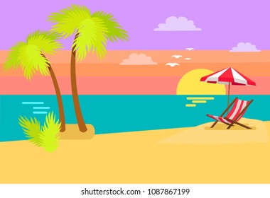 Seashore coastal view tropical beach, sea sand and palm trees, sunset or sunrise, umbrella and sunbed tropics island vector coast summer background