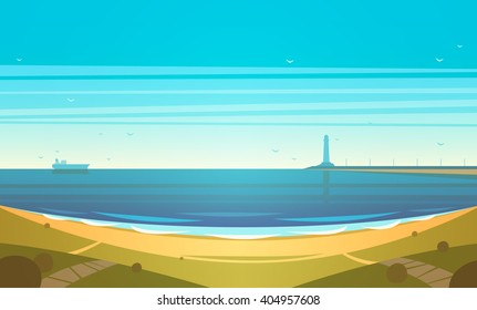 Seashore. Vector illustration.