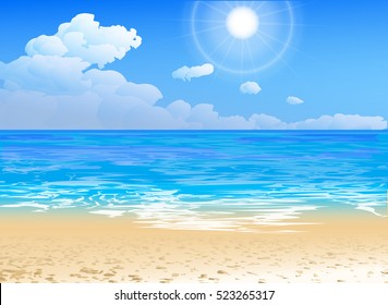 seashore vector of an ocean and beach