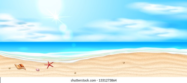 Seaside beach with azure waves, starfish, shell on sand coast and cloud blue sky. Seashore summer holiday background for travelling vacation. Ocean landscape for summer party Realistic vector seascape