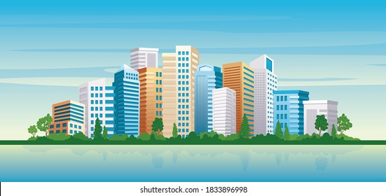 Seaside Cityscape view with modern architecture sea and city park. Urban cityscape panoramic landscape vector illustration