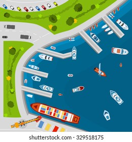 Seaside dockyard harbor terminal area with cargo vessels top view from above poster flat abstract vector illustration