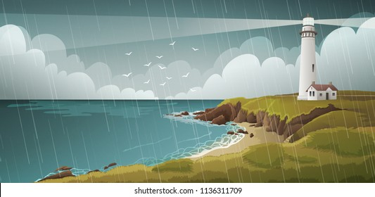 Seaside landscape with white lighthouse under stormy sky and rain.Vector illustration.