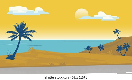 Seaside palm trees and a boat Vector illustration background template for advertise, travel agency, banner, project