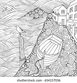 Seaside promenade. Wooden boat lying on the shore. Adult coloring book page in zentangle style. Black and white. Doodle. Vector.