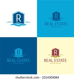 Seaside Real Estate House Logo and Icon - Vector Illustration