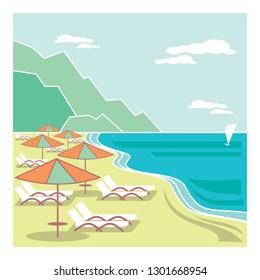 Seaside resort. Old style fashioned illustration