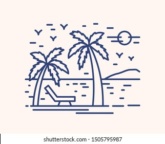 Seaside resort vacation vector lineart illustration. Linear palm trees on beach with deckchair. Summertime relax concept. Calm sea with mountain silhouette on horizon. Summer vacation recreation idea.