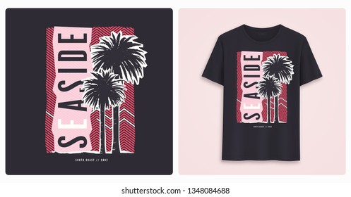 Seaside. Stylish colorful graphic t-shirt design, poster, print with palm trees. Vector illustration.