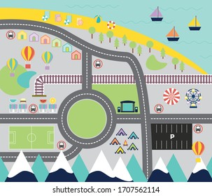 Seaside town beyond the moutains play mat map graphic