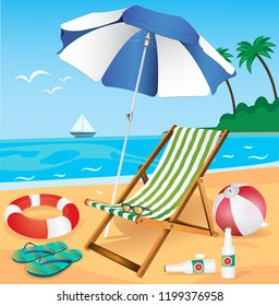 Seaside vacation vector. holiday items on the beach.