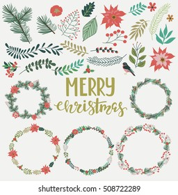 Season greeting card. Christmas wreath set with winter floral. Vector illustration