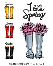 Season greeting card. Hand drawn fashion illustration blue, red, yellow, black rubber boots, bouquet of spring flowers and I love spring, summer, winter, autumn lettering. Isolated elements on white