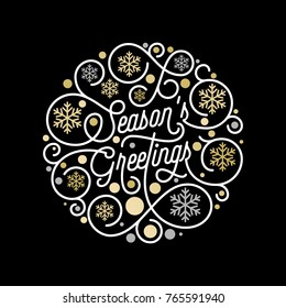 Season Greetings calligraphy lettering and golden snowflake pattern on white background for Christmas greeting card design. Vector golden New Year flourish swash holiday text Xmas decoration design