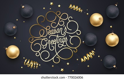 Season Greetings font text flourish golden calligraphy lettering of swash gold typography for Xmas or New Year greeting card design. Vector Christmas confetti golden decoration on black background