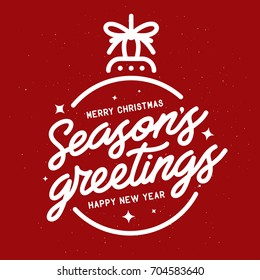 Season greetings typography composition. Decorative design element for postcards, prints, posters. Vector vintage illustration.