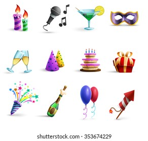 Season holidays weddings celebration and birthday parties icons set with champagne glasses and balloons abstract vector illustrations