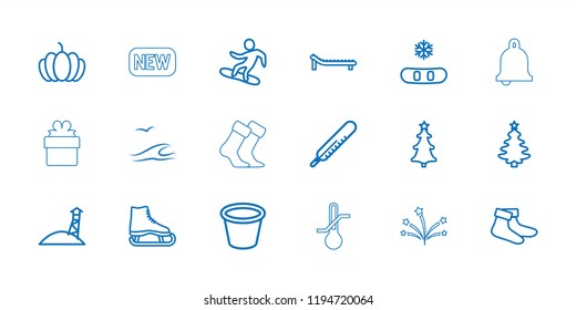 Season icon. collection of 18 season outline icons such as thermometer, socks, ice skate, snowflake, christmas tree, pot for plants. editable season icons for web and mobile.