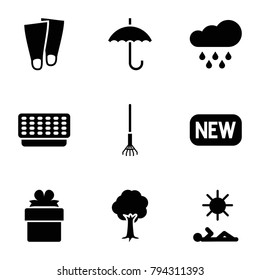 Season icons. set of 9 editable filled season icons such as tree, rain, man laying in sun, new, flippers, umbrella, gift, rake