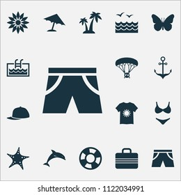 Season icons set with shorts, swimsuits, pool and other lifesaver elements. Isolated vector illustration season icons.