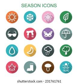 season long shadow icons, flat vector symbols